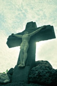 Jesus on the Cross at a Grotto my wife's grandfather built in Alta Vista, IA